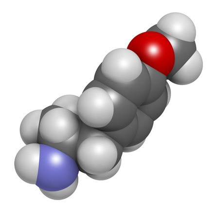 p-methoxyamphetamine (PMA) hallucinogenic drug molecule. Frequently leads to lethal poisoning when mistaken for MDMA (XTC, ecstasy). Atoms are represented as spheres with conventional color coding: hydrogen (white), carbon (grey), oxygen (red), nitrogen ( photo