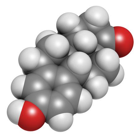 carcinogen: Estrone (oestrone) human estrogen hormone molecule. Atoms are represented as spheres with conventional color coding: hydrogen (white), carbon (grey), oxygen (red).