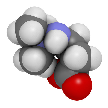 angina: Meldonium anti-ischemic drug molecule. Used in treatment of angina and myocardial infarction. Atoms are represented as spheres with conventional color coding: hydrogen (white), carbon (grey), oxygen (red), nitrogen (blue). Stock Photo