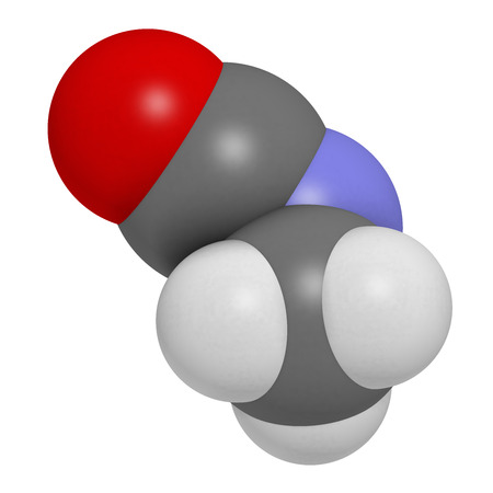 bhopal: Methyl isocyanate (MIC) toxic molecule. Important chemical that was responsible for thousands of deaths in the Bhopal disaster. Atoms are represented as spheres with conventional color coding: hydrogen (white), carbon (grey), oxygen (red), nitrogen (blue)