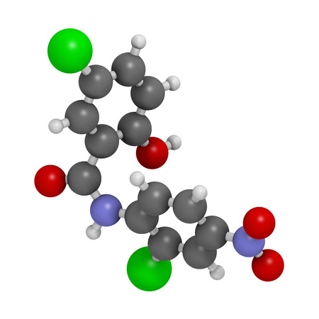 nen: Niclosamide tapeworm drug molecule (anthelmintic). May be useful as antidiabetic drug, acting as a mitochondrial uncoupler. Atoms are represented as spheres with conventional color coding: hydrogen (white), carbon (grey), oxygen (red), nitrogen (blue), ch Stock Photo