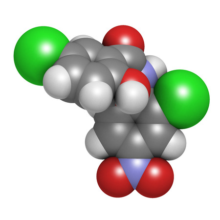 Niclosamide tapeworm drug molecule (anthelmintic). May be useful as antidiabetic drug, acting as a mitochondrial uncoupler. Atoms are represented as spheres with conventional color coding: hydrogen (white), carbon (grey), oxygen (red), nitrogen (blue), ch Stock Photo