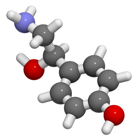 norepinephrine: Octopamine stimulant drug molecule (sympathomimetic agent). Atoms are represented as spheres with conventional color coding: hydrogen (white), carbon (grey), oxygen (red), nitrogen (blue). Stock Photo