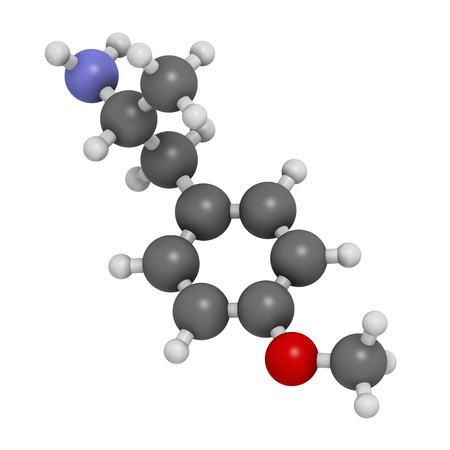 ecstasy: p-metoxianfetamina (PMA) mol�cula de la droga alucin�gena. Conduce con frecuencia a la intoxicaci�n letal cuando confundido con MDMA (XTC, �xtasis). Los �tomos se representan como esferas con codificaci�n de colores convencionales: hidr�geno (blanco), carb�n (gris), ox�geno (rojo), nitr�geno (