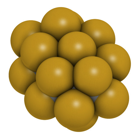 fluorine: Perfluorodecalin fluorocarbon molecule. Used as component of artificial blood and for liquid breathing. Atoms are represented as spheres with conventional color coding: carbon (grey), fluorine (gold).
