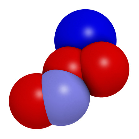 reactive: Peroxynitrite (sodium) reactive nitrogen species molecule. Formed by the reaction of the free radicals nitric oxide and superoxide in the human body. Atoms are represented as spheres with conventional color coding: oxygen (red), nitrogen (blue), sodium (d