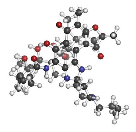 polymerase: Rifabutin tuberculosis drug molecule. Atoms are represented as spheres with conventional color coding: hydrogen (white), carbon (grey), oxygen (red), nitrogen (blue).