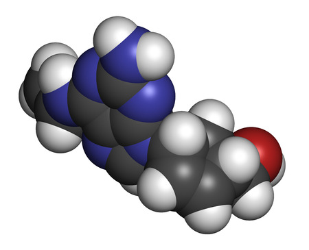 nucleoside: Abacavir (ABC) reverse transcriptase inhibitor drug. Used in treatment of HIV infection and AIDS. Atoms are represented as spheres with conventional color coding: hydrogen (white), carbon (grey), oxygen (red), nitrogen (blue).