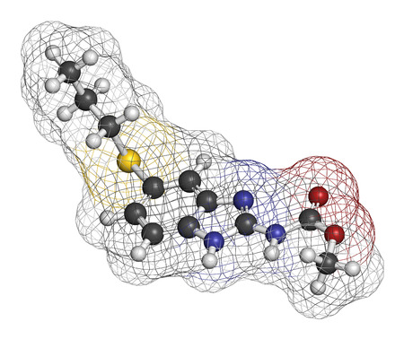 flukes: Albendazole anthelmintic drug molecule. Used in treatment of parasitic worm infestations. Atoms are represented as spheres with conventional color coding: hydrogen (white), carbon (grey), oxygen (red), nitrogen (blue), sulfur (yellow).