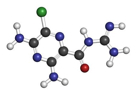 insuficiencia cardiaca: Mol�cula del f�rmaco diur�tico amilorida. Se utiliza en el tratamiento de la hipertensi�n y la insuficiencia card�aca congestiva. Los �tomos se representan como esferas con codificaci�n de colores convencionales: hidr�geno (blanco), carb�n (gris), ox�geno (rojo), nitr�geno (azul), cloro (verde).