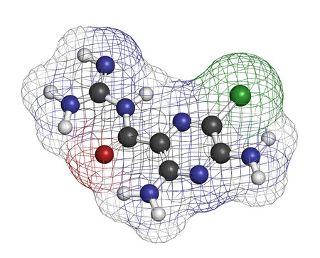 diuretic: Amiloride diuretic drug molecule. Used in treatment of hypertension and congestive heart failure. Atoms are represented as spheres with conventional color coding: hydrogen (white), carbon (grey), oxygen (red), nitrogen (blue), chlorine (green).