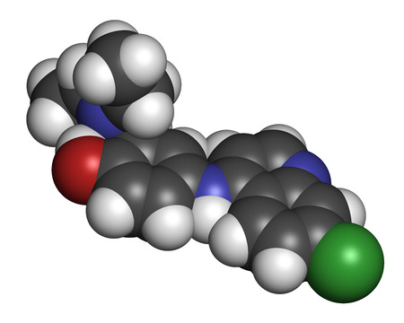 plasmodium: Amodiaquine anti-malarial drug molecule. Atoms are represented as spheres with conventional color coding: hydrogen (white), carbon (grey), oxygen (red), nitrogen (blue), chlorine (green).