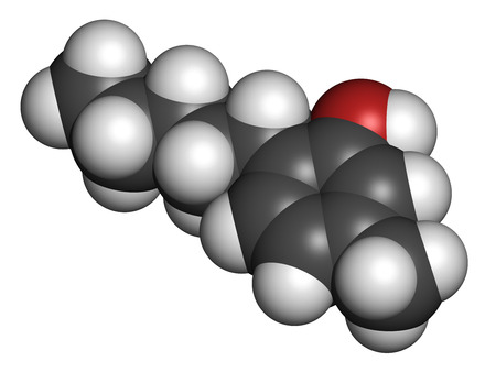 antiseptic: Amylmetacresol antiseptic drug molecule. Used in lozenges to treat sore throat. Atoms are represented as spheres with conventional color coding: hydrogen (white), carbon (grey), oxygen (red).