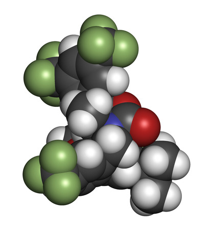 inhibitor: Anacetrapib hypercholesterolemia drug molecule. CETP (cholesterylester transfer protein) inhibitor for the treatment of elevated cholesterol levels. Atoms are represented as spheres with conventional color coding: hydrogen (white), carbon (grey), oxygen (