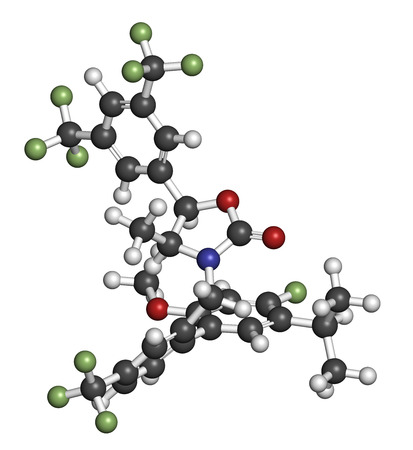 lipoprotein: Anacetrapib hypercholesterolemia drug molecule. CETP (cholesterylester transfer protein) inhibitor for the treatment of elevated cholesterol levels. Atoms are represented as spheres with conventional color coding: hydrogen (white), carbon (grey), oxygen (