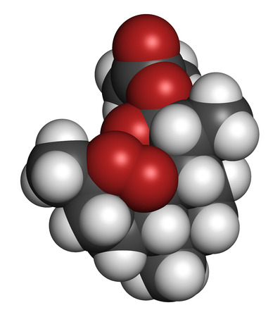 plasmodium: Artesunate malaria drug molecule. Atoms are represented as spheres with conventional color coding: hydrogen (white), carbon (grey), oxygen (red). Stock Photo