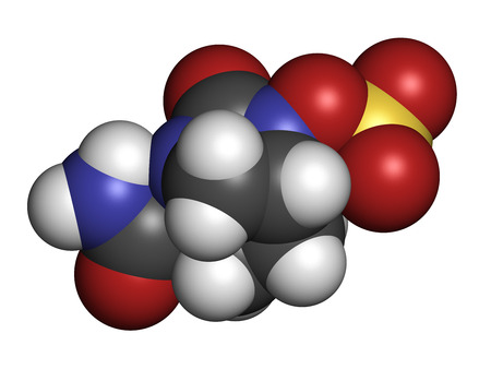 inhibitor: Avibactam drug molecule. Beta-lactamase inhibitor given in combination with antibiotics. Atoms are represented as spheres with conventional color coding: hydrogen (white), carbon (grey), oxygen (red), nitrogen (blue), sulfur (yellow). Stock Photo