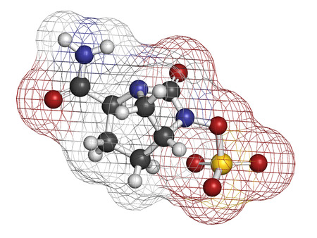 generic drugs: Avibactam drug molecule. Beta-lactamase inhibitor given in combination with antibiotics. Atoms are represented as spheres with conventional color coding: hydrogen (white), carbon (grey), oxygen (red), nitrogen (blue), sulfur (yellow). Stock Photo