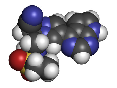 nephropathy: Baricitinib janus kinase (JAK1 & JAK2) inhibitor drug molecule. Under development for treatment of rheumatoid arthritis, psoriasis, etc. Atoms are represented as spheres with conventional color coding: hydrogen (white), carbon (grey), oxygen (red), nitrog Stock Photo
