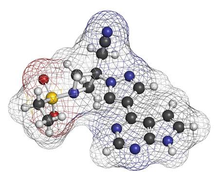 janus: Baricitinib janus kinase (JAK1 & JAK2) inhibitor drug molecule. Under development for treatment of rheumatoid arthritis, psoriasis, etc. Atoms are represented as spheres with conventional color coding: hydrogen (white), carbon (grey), oxygen (red), nitrog Stock Photo