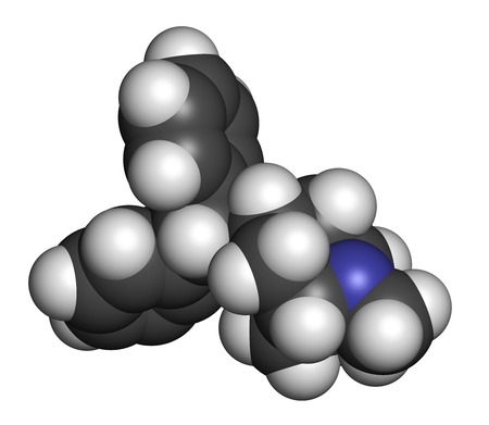 anticholinergic: Benzatropine (benztropine) anticholinergic drug molecule. Used in treatment of Parkinsons disease and Parkinsonism. Atoms are represented as spheres with conventional color coding: hydrogen (white), carbon (grey), oxygen (red), nitrogen (blue). Stock Photo