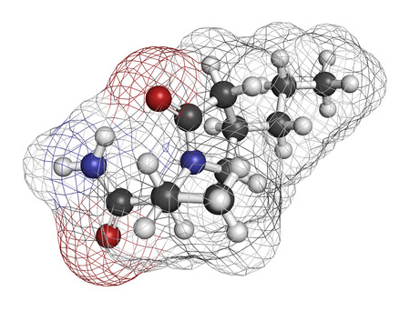 anticonvulsant: Brivaracetam anticonvulsant drug molecule. Used in treatment of seizures. Atoms are represented as spheres with conventional color coding: hydrogen (white), carbon (grey), oxygen (red), nitrogen (blue).