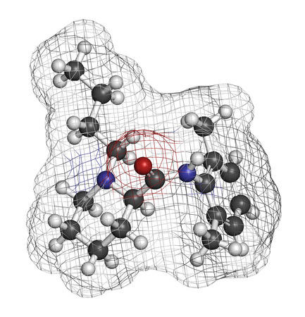 anesthetic: Bupivacaine epidural anesthetic drug molecule (local anesthetic). Atoms are represented as spheres with conventional color coding: hydrogen (white), carbon (grey), oxygen (red), nitrogen (blue). Stock Photo