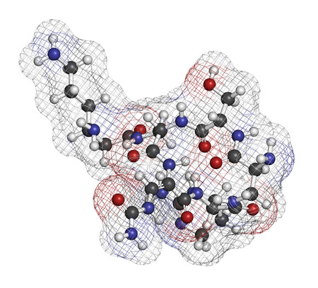 nitrogen: Capreomycin antibiotic drug molecule. Atoms are represented as spheres with conventional color coding: hydrogen (white), carbon (grey), oxygen (red), nitrogen (blue).