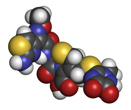 generic drugs: Ceftriaxone antibiotic drug molecule (cephalosporin, third generation). Atoms are represented as spheres with conventional color coding: hydrogen (white), carbon (grey), oxygen (red), nitrogen (blue), sulfur (yellow). Stock Photo