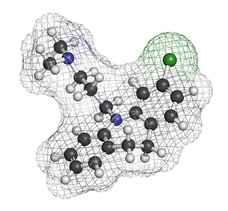 obsessive compulsive: Clomipramine tricyclic antidepressant drug molecule. Used in treatment of depression, obsessive-compulsive disorder, etc. Atoms are represented as spheres with conventional color coding: hydrogen (white), carbon (grey), nitrogen (blue), chlorine (green). Stock Photo