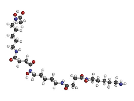 chelation: Deferoxamine drug molecule. Used to treat iron poisoning (hemochromatosis). Atoms are represented as spheres with conventional color coding: hydrogen (white), carbon (grey), oxygen (red), nitrogen (blue).