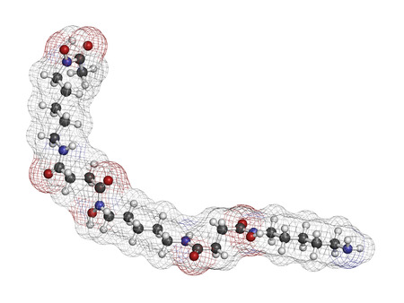 Deferoxamine drug molecule. Used to treat iron poisoning (hemochromatosis). Atoms are represented as spheres with conventional color coding: hydrogen (white), carbon (grey), oxygen (red), nitrogen (blue).