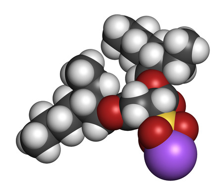 laxative: Docusate sodium (dioctyl sodium sulfosuccinate) stool softener drug molecule (laxative). Atoms are represented as spheres with conventional color coding: hydrogen (white), carbon (grey), oxygen (red), sulfur (yellow), sodium (purple). Stock Photo