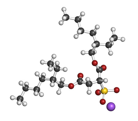 adjuvant: Docusate sodium (dioctyl sodium sulfosuccinate) stool softener drug molecule (laxative). Atoms are represented as spheres with conventional color coding: hydrogen (white), carbon (grey), oxygen (red), sulfur (yellow), sodium (purple). Stock Photo