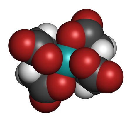 Calcium edetate (calcium EDTA) drug molecule. Medically used in chelation therapy to treat metal poisoning (mercury, lead). Atoms are represented as spheres with conventional color coding: hydrogen (white), carbon (grey), oxygen (red), nitrogen (blue), ca