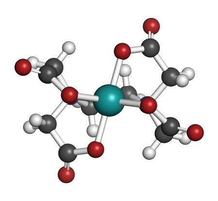 エデト酸カルシウム (カルシウム EDTA) 薬剤の分子の。医学的に金属中毒 (水銀、鉛) の治療にキレート療法で使用。原子は従来色の球体として表され