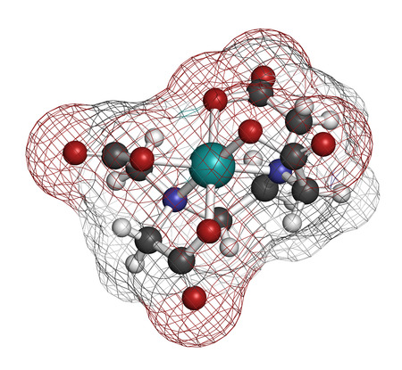chelation: Calcium edetate (calcium EDTA) drug molecule. Medically used in chelation therapy to treat metal poisoning (mercury, lead). Atoms are represented as spheres with conventional color coding: hydrogen (white), carbon (grey), oxygen (red), nitrogen (blue), ca