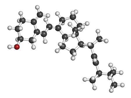 HIDROGENO: Ergocalciferol (vitamina D2) molécula. Los átomos se representan como esferas con codificación de colores convencionales: hidrógeno (blanco), carbón (gris), oxígeno (rojo). Foto de archivo