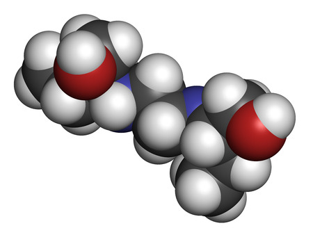 hidrogeno: Mol�cula del f�rmaco tuberculosis etambutol. Los �tomos se representan como esferas con codificaci�n de colores convencionales: hidr�geno (blanco), carb�n (gris), ox�geno (rojo), nitr�geno (azul). Foto de archivo