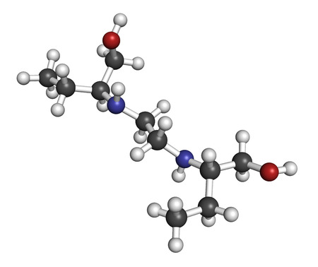 bacteriostatic: Ethambutol tuberculosis drug molecule. Atoms are represented as spheres with conventional color coding: hydrogen (white), carbon (grey), oxygen (red), nitrogen (blue). Stock Photo