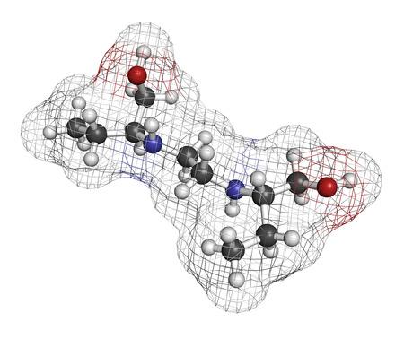 HIDROGENO: Molécula del fármaco tuberculosis etambutol. Los átomos se representan como esferas con codificación de colores convencionales: hidrógeno (blanco), carbón (gris), oxígeno (rojo), nitrógeno (azul). Foto de archivo