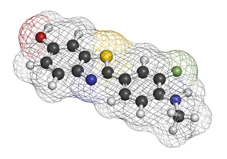 Flutemetamol (18F) PET tracer molecule. Used to diagnose Alzheimers disease. Atoms are represented as spheres with conventional color coding: hydrogen (white), carbon (grey), oxygen (red), nitrogen (blue), sulfur (yellow), fluorine-18 (light green).