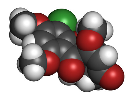 penicillium: Griseofulvin antimycotic drug molecule. Used to treat fungal infections of the skin and nails. Atoms are represented as spheres with conventional color coding: hydrogen (white), carbon (grey), oxygen (red), chlorine (green). Stock Photo