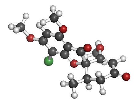 fungal: Griseofulvin antimycotic drug molecule. Used to treat fungal infections of the skin and nails. Atoms are represented as spheres with conventional color coding: hydrogen (white), carbon (grey), oxygen (red), chlorine (green). Stock Photo