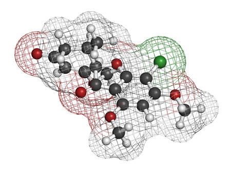 grey nails: Griseofulvin antimycotic drug molecule. Used to treat fungal infections of the skin and nails. Atoms are represented as spheres with conventional color coding: hydrogen (white), carbon (grey), oxygen (red), chlorine (green). Stock Photo