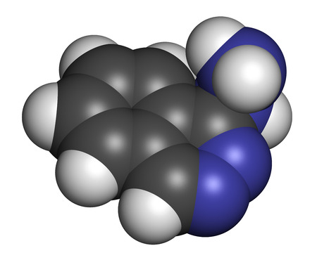 relaxant: Hydralazine (apresoline) hypertension drug molecule. Atoms are represented as spheres with conventional color coding: hydrogen (white), carbon (grey), nitrogen (blue). Stock Photo
