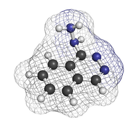 muscle relaxant: Hydralazine (apresoline) hypertension drug molecule. Atoms are represented as spheres with conventional color coding: hydrogen (white), carbon (grey), nitrogen (blue). Stock Photo