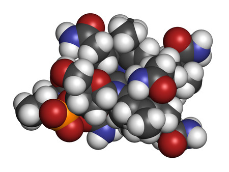 poisoning: Hydroxocobalamin vitamin B12 molecule. Often given therapeutically in case of B12 deficiency but also to treat cyanide poisoning. Atoms are represented as spheres with conventional color coding: hydrogen (white), carbon (grey), oxygen (red), nitrogen (blu