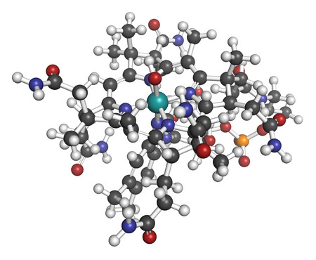 malabsorption: Hydroxocobalamin vitamin B12 molecule. Often given therapeutically in case of B12 deficiency but also to treat cyanide poisoning. Atoms are represented as spheres with conventional color coding: hydrogen (white), carbon (grey), oxygen (red), nitrogen (blu