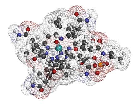 poisoning: Idrossicobalamina vitamina B12 molecola. Spesso data terapeuticamente in caso di carenza di vitamina B12, ma anche per il trattamento di avvelenamento da cianuro. Gli atomi sono rappresentati come sfere con codifica a colori convenzionale: idrogeno (bianco), carbonio (grigio), ossigeno (rosso), azoto (blu Archivio Fotografico